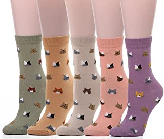Leotruny Women's Colorful Cute Cat Crew Socks with Gift Box