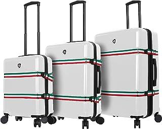 Mia Toro Italy Nastro Hard Side Spinner Luggage 3 Piece Set, White, One Size