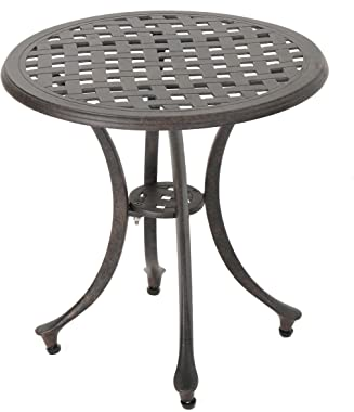 "Christopher Knight Home Lola Outdoor 19"" Cast Aluminum Side Table, Bronze Finished"
