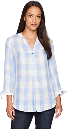 Long Tie Sleeve Gingham Top
