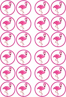 24 Pink Flamingo PRECUT Edible Cupcake Toppers - wafer card disc cake decorations STAND UP (PRECUT)