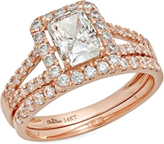 1.5 CT Emerald Cut Pave Halo Bridal Engagement Wedding Ring Band Set 14k Rose Gold