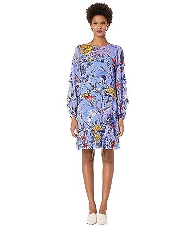 FUZZI Botanical Floral Tulle Print Ruffle Knee Length Dress (Lavanda) Women