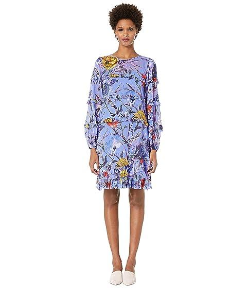 FUZZI Botanical Floral Tulle Print Ruffle Knee Length Dress