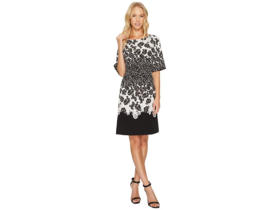 Adrianna Papell Fluttering Lace Print Fit Flare with Elbow Length Sleeves (Black Multi) Women