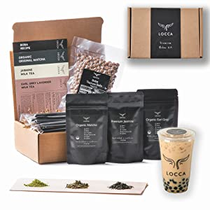 Locca Boba Tea Kit   24+ Bubble Teas   Premium Daily Joy Kit   Organic Matcha, Organic Earl Grey Lavender, Jasmine   Vegan & Gluten Free Boba Drink   Premium DIY Boba Tea Kit (DAILY JOY)