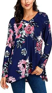 SATINIOR Women's Fall Tunic Top Long Sleeve V-Neck Casual Blouse Loose Sleepwear T-Shirt
