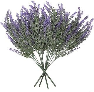 Houseables Artificial Lavender Flower, Purple, 4 Bundles, Plastic, Fake Flowers, Faux Stems, Flocked Lavendar Sprigs, Flor...