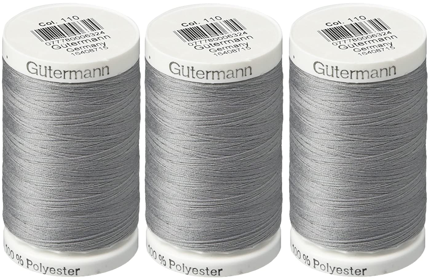 Gutermann Sew-All Thread, 547-Yard, Slate (3 Pack)