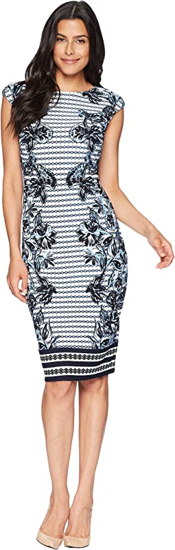 Vince Camuto Printed Scuba Bodycon Dress