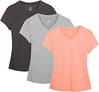 Workout Shirts Yoga Tops Activewear V-Neck T-Shirts for Women Running Fitness Sports Short Sleeve Tees(Pack of 3)