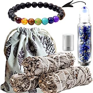 Worldly Finds White Sage Incense Smudge Sticks 3 Pack & Chakra Kit, Healing Stones 7 Chakra Diffuser Bracelet (Unisex), Crystals Oil Roller Gemstone Bottle for Essential Oil,Gift Set (Lapis Lazuli)