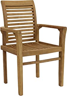 Sunnydaze Solid Teak Outdoor Armchair - Light Brown Wood Stain Finish - Slatted Chair - Patio, Deck, Lawn, Garden, Terrace...