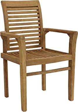 Sunnydaze Solid Teak Outdoor Armchair - Light Brown Wood Stain Finish - Slatted Chair - Patio, Deck, Lawn, Garden, Terrace or