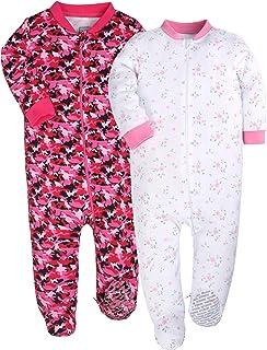YXD Baby Girls 2-Pack Snug Fit Footed Pajamas 100% Cotton Blanket Sleeper  Printing c6fea3119