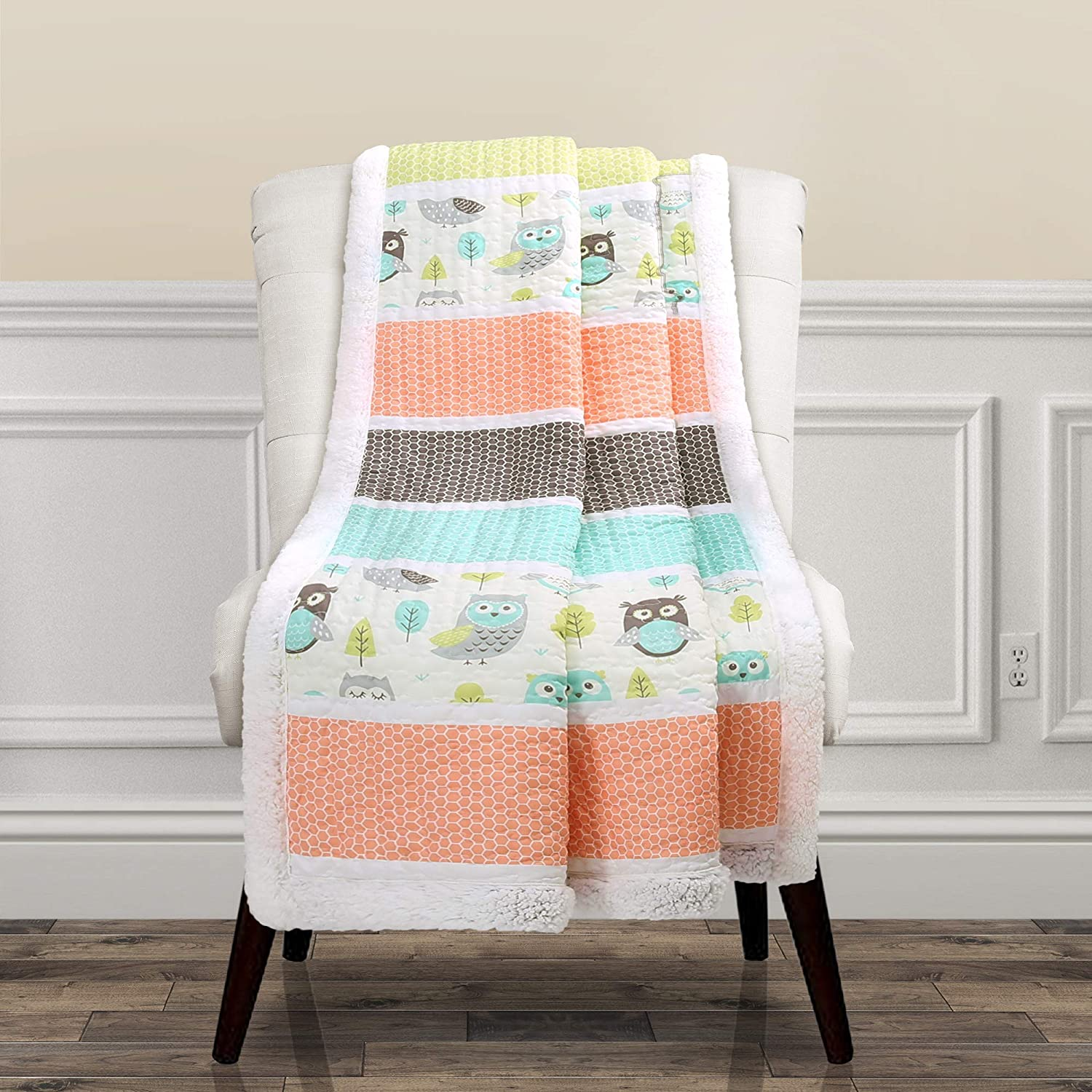 Lush Decor Coral It is very popular Turquoise Owl Stripe Sherpa Blanket Max 71% OFF Throw 6