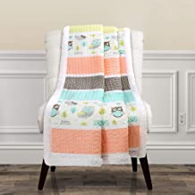 "Lush Decor, Coral & Turquoise Owl Stripe Sherpa Throw Blanket, 60"" x 50"""