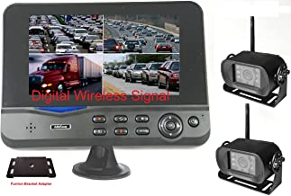 """4Ucam Two Digital Wireless Camera + 7"""" Monitor Quad-View + Adapter for Furrion FRCBRKT-BL Pre-Install Mounting Kit (FOS48T-BL/FOC12TA-BL) for RV, Trailer, 5th Wheels"""