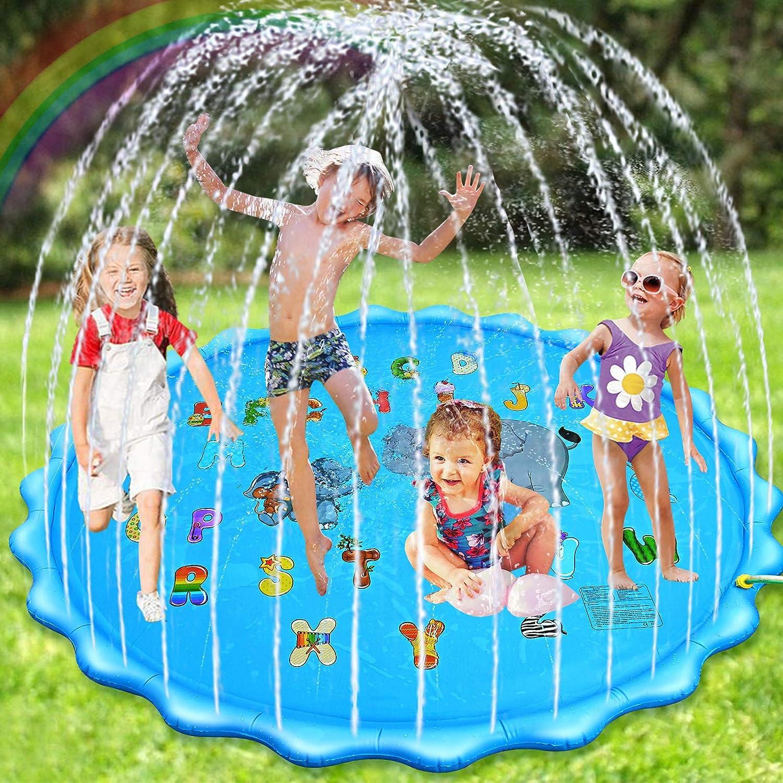 Nabance Splash Pad, 200CM /78Inch Chapoteo Almohadilla Aspersor de Juego, Juego de Salpicaduras, Jardín de Verano Juguete Acuático para Niños y Actividades Familiares Aire Libre, Engrosamiento de PVC