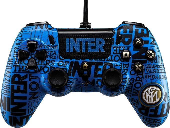 Wired Controller Inter per PS4 con Tasto Tattico Frontale Cliccabile, Cavo Di 3 Mt E Connettore Audio con jack da 3.5 mm - PlayStation 4