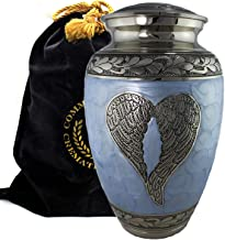 Loving Angel Wings Blue/Silver Cremation Urns for Human Ashes Adult for Funeral, Burial, Columbarium, Home, Cremation Urns for Human Ashes Adult 200 Cubic inches, Urns for Ashes (Extra Large/Adult)