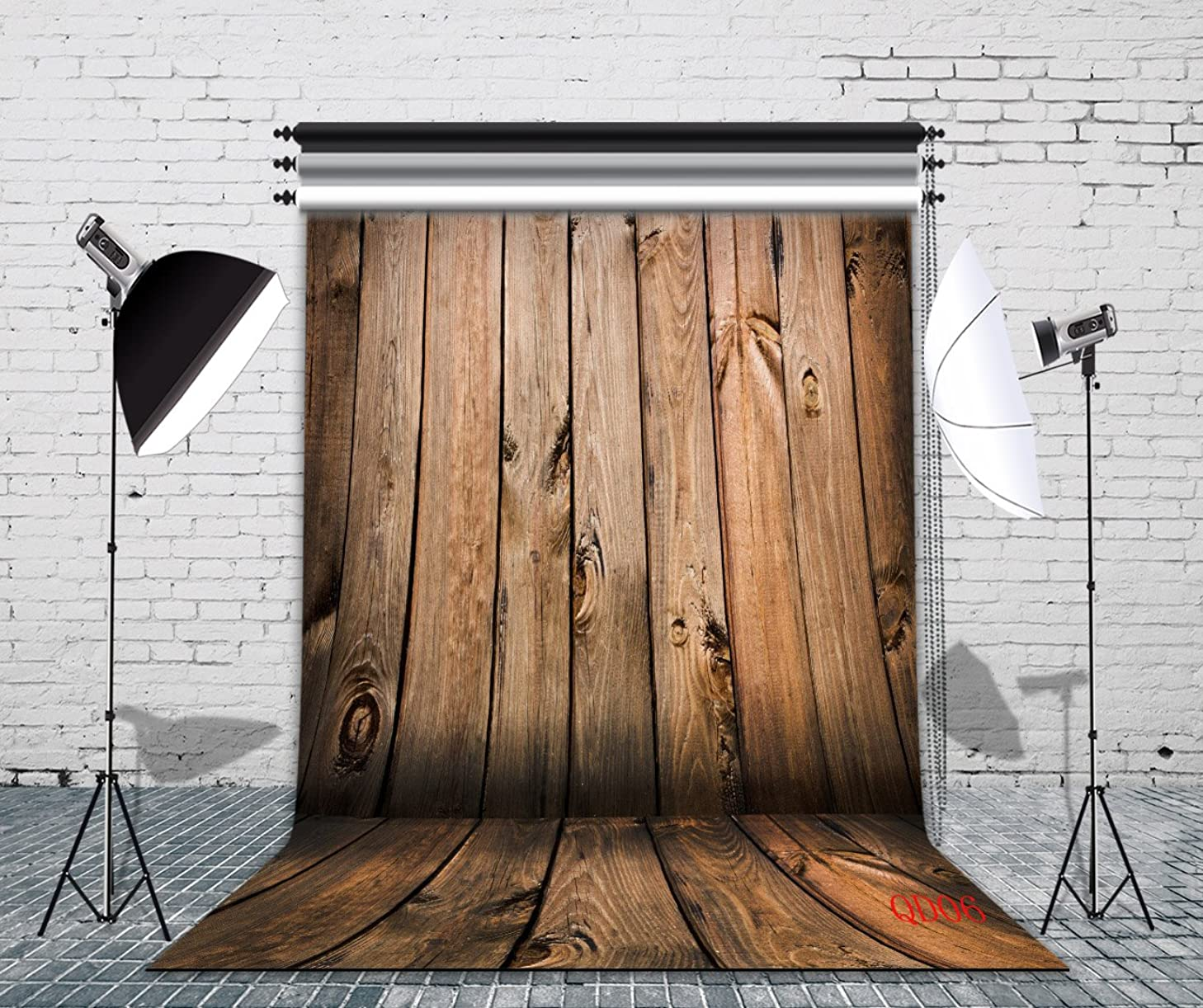 LB Rustic Wood Floor Backdrop for Photography 6x9ft Polyester Fabric Wooden Wall Photo Backdrop for Newborn Smash Cake Birthday Party Portraits Photo Studio Background,Seamless Washable