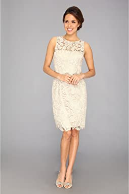 Adrianna Papell Illusion Neck Lace Dress