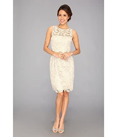 Adrianna Papell Illusion Neck Lace Dress (Champagne) Women