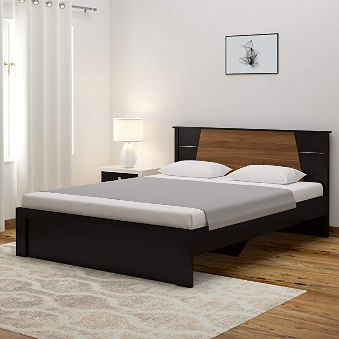 Spacewood Riva Queen Size Engineered Wood Bed  Particle Board   Natural Wenge