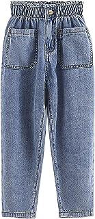 ZRFNFMA Ropa para niños, Pantalones Casuales de ChicasJeansChildriners CasualBig Pantalones Casuales para niños, Jeans Azules