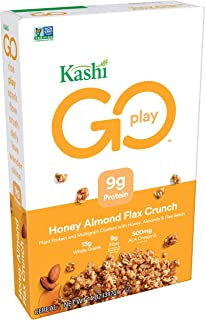Kashi GO Honey Almond Flax Crunch Breakfast Cereal - Non-GMO | Vegetarian | 14 Ounce (Pack of 1)