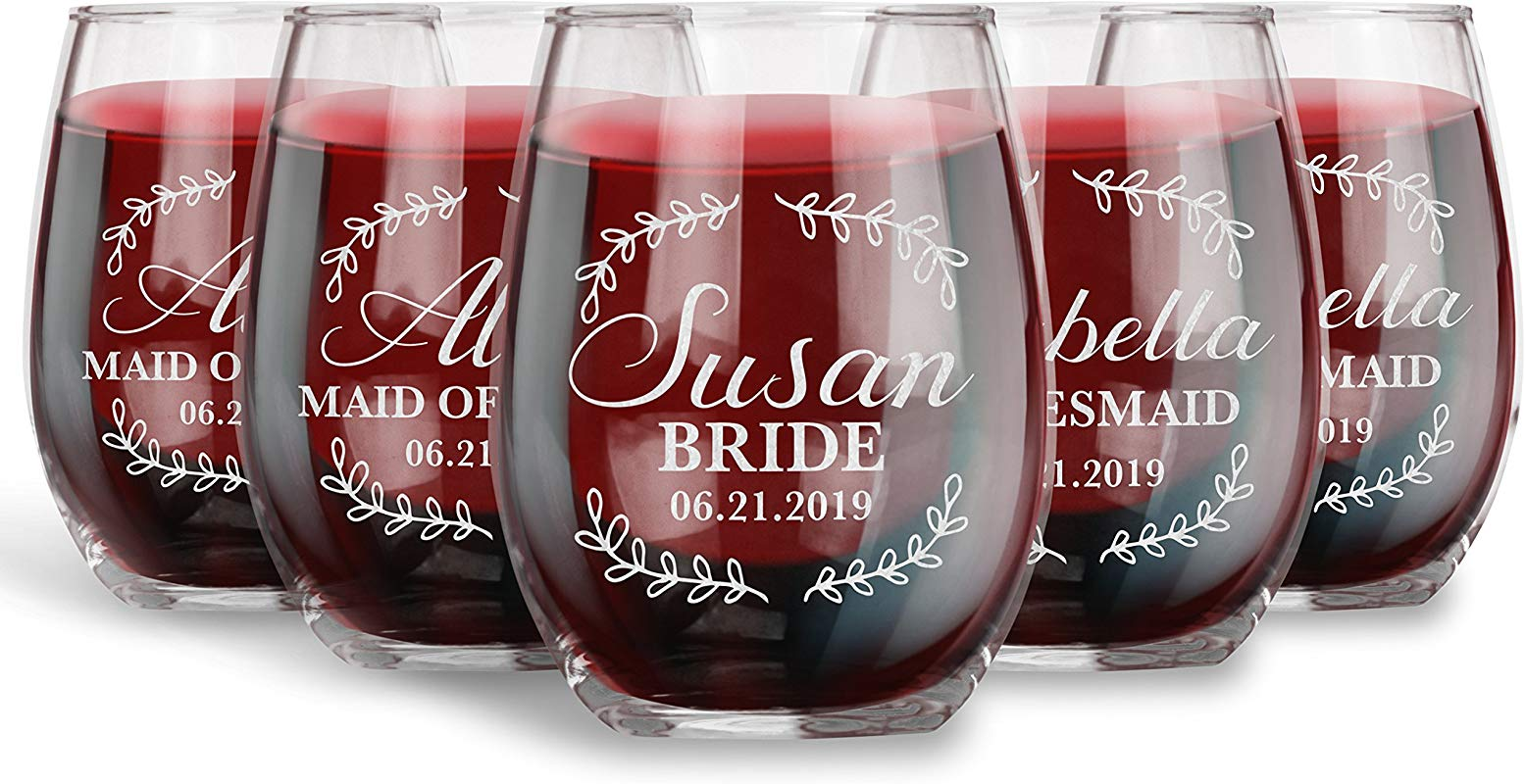 Bridesmaid Gifts For Wedding Set Of 6 Personalized 15 Oz Stemless Wine Glass Floral Proposal Engraved With Title Name And Date Wedding Gift Ideas