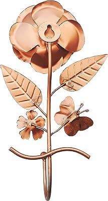 Brass Gift Center Wall Hanging Key Hodler in Rose Shape Showpiece - 21 cm (Iron Copper)