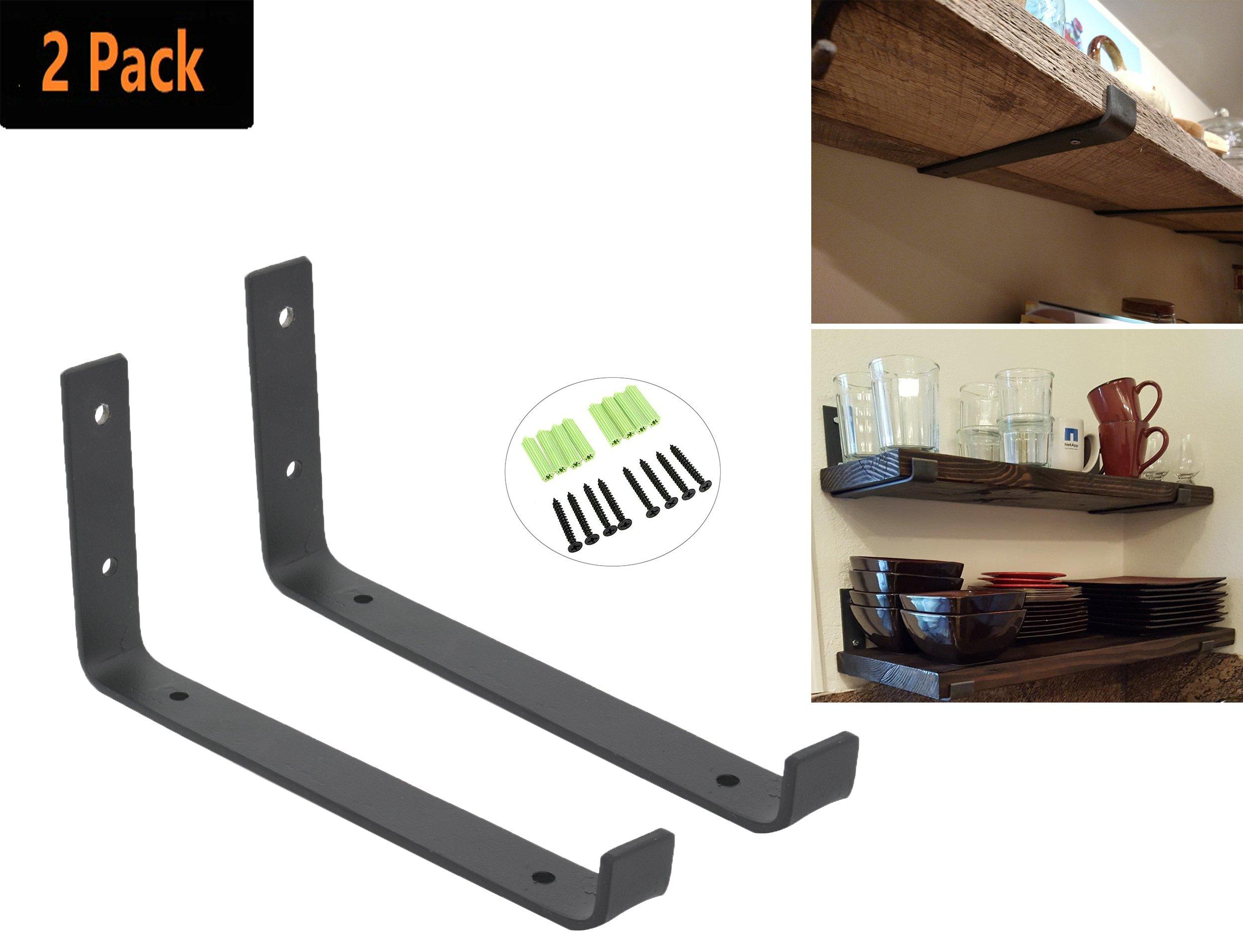 Addgrace Hook Brackets Handcrafted Forged Rustic Metal Wall Shelf Brackets Strap Angle Lip Black 8 Inch Amazon Ca Home Kitchen