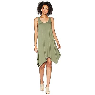 TWO by Vince Camuto Sleeveless Slub Jersey Sharkbite Tank Dress (Canopy Green) Women