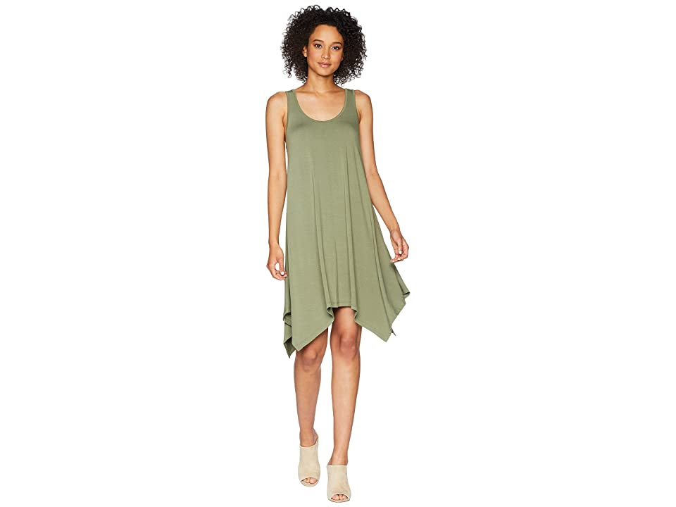 TWO by Vince Camuto Sleeveless Slub Jersey Sharkbite Tank Dress (Canopy Green) Women