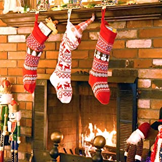 Set of 3 Knit Christmas Stockings Holiday Décor Gift Filler Holder w/ Snowman, Reindeer, Xmas Tree, Snowflake Motif, 21
