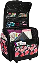 Everything Mary Deluxe Collapsible Rolling Craft Case, Floral - Scrapbook Tote Bag w/Wheels for Scrapbooking & Art - Trave...