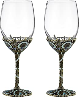 SEMAXE 12oz Wine Glasses Set of 2, Hand Blown Crystal Wine Glasses Made of Lead-free Glass and Enamel (Classical Wine Glasses Set of 2)