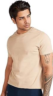 Iconic Men's 2300508 POPCORN TEE Cotton T-Shirt, Beige