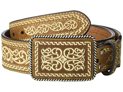 M&F Western Embroidered Belt w/ Rope Wrapped Buckle (Brown/Cream) Men