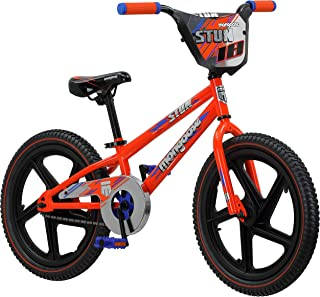 Mongoose Stun Freestyle BMX Bike with Mag Wheels for Kids, Featuring Small Stand-Over Steel Frame, Chain Guard, Foot Brake, and 18-Inch Wheels, in Blue and Orange