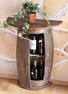 DanDiBo wandtafel, halfrond, tafel, wijnrek, wijnvat 0373-R, bruin, houten kabinet, 73 cm, bijzettafel, console, wandconso...