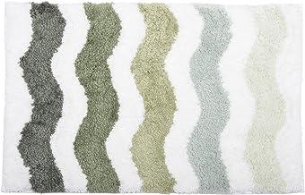 (Green, 40 x 60cm) - Green Microfibre Soft Tufted Waves Design Bath Mat Rug Non-Slip Back 40x60cm