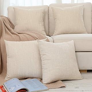 أغطية وسائد مزخرفة مزخرفة للسرير من الكتان غطاء وسادة لغرفة المعيشة، 50.8 × 50.8 سم، بيج، عبوة 4