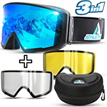 Athletrek Ski & Snowboard Goggles   3 Unique Magnetic Fast Changing Lenses for All..