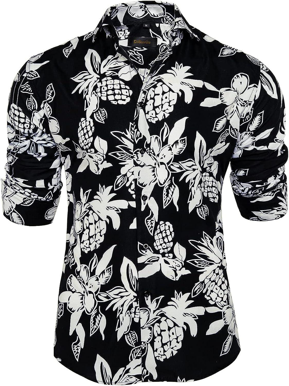 DiBanGu Men's quality assurance Floral Dress Shirt Long Max 71% OFF Down Button Casual Sleeve