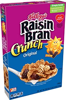 (Discontinued Version) Kellogg's Raisin Bran Crunch, Breakfast Cereal, Original, Good Source of Fiber, 18.2 oz Box