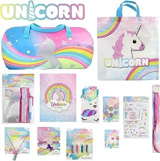 Unicorn Showbag Gift Pack with Poo Putty Duffle Bag Stationery Set Nail Art Glitter Tote Bag – Girls Show Bag for Kids Bir...