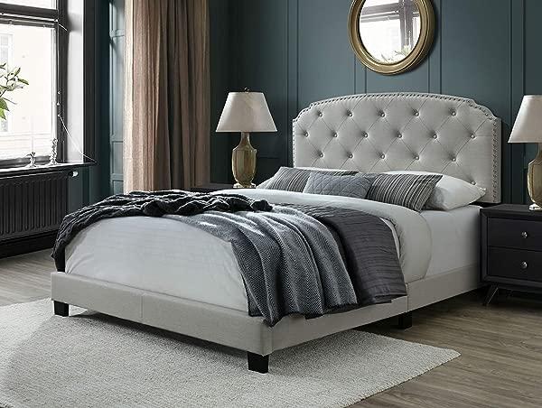 DG Casa 9850 Q BGE 温布利簇绒软垫面板床架与钉头装饰床头板大号米黄色亚麻风格面料